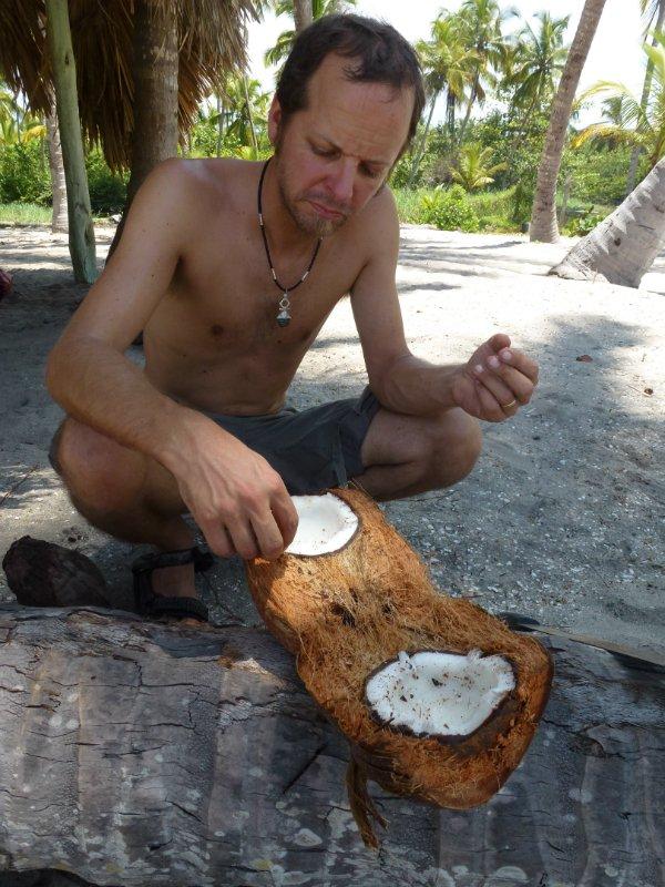 geknackte Kokosnuss